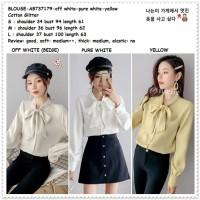 Baju Atasan Kemeja Pita Wanita Korea Import AB737179 Putih Yellow