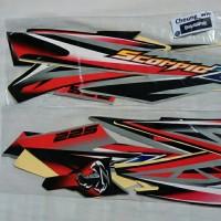lis body/ striping / stiker yamaha scorpio z 2008 Hitam silver lis Red