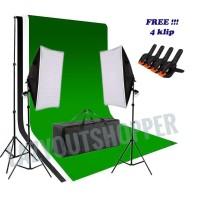 lampu / lighting kit studio paket 2 softbox dengan kain backdrop