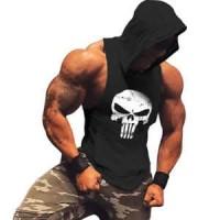 SH - PUNISHER / Singlet hoodie kaos gym training baju olahraga pria
