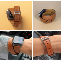 Strap Apple Watch Single Tour Hermes Double Leather 38mm 42mm 44mm