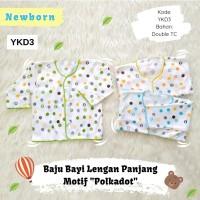 3 Pcs Baju Bayi Newborn Lengan Panjang Motif Polkadot