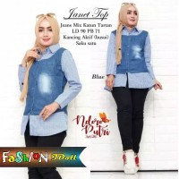 Kemeja Wanita Jeans Mix Katun Baju Cewek Fashion Modis Kekinian Resmi