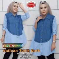 Baju Atasan Wanita Tunik Kombinasi Jeans Kemeja Cewek Katun kekinian