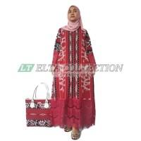 gamis tenun kombinasi renda brokat baju Muslim terkini