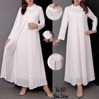 Baju Gamis Putih Lebaran Umroh Haji / Busana Muslim Wanita #877 STD
