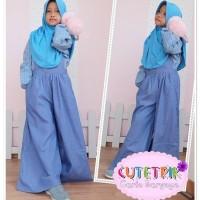 WB 8 Baju Muslim Anak Cutetrik Setelan Jumpsuit Kulot Blue 3-7 tahun
