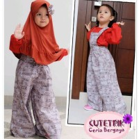 VT 7 Baju Muslim Anak Cutetrik Jumpsuit Kulot Merah Bata