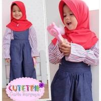 WB 7 Baju Muslim Anak Cutetrik Setelan Jumpsuit Kulot Red 3-7 tahun