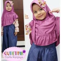 WB 10 Baju Muslim Anak Cutetrik Setelan Jumpsuit Kulot Purple 3-7 tahu