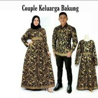 Couple Gamis Batik Prada Emas Set Anak Baju Batik Keluarga Bakung