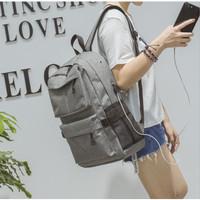 NEW Tas Ransel USB port charger,Smart Backpack Anti Air Anti Maling - - Abu-abu