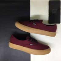 Sepatu Vans Authentic Mono Port Royale Red Maroon Black Classic Gum