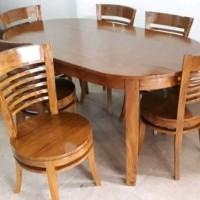meja makan oval minimalis 6 kursi