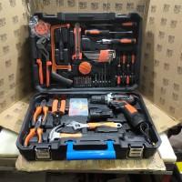 Paket Toolkit Toolbox Mesin Bor Baterai Bor Cordless 112pc