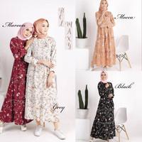 Dress Sehari hari / Gamis motif bunga / Baju muslim wanita : BCL Maxy