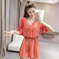Baju Wanita Red Floral Horn Sleeved V Neck Short Pants 36226RD-L