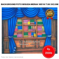 Background Backdrop Latar Foto Rak Wisuda Gorden biru WS16-T 3x2.5m