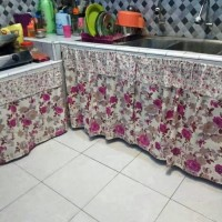 Gorden kolong dapur - bunga 100x75 cm