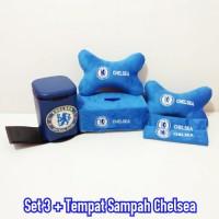 bantal mobil Set 3 Bordir & Tempat Sampah Chelsea Biru