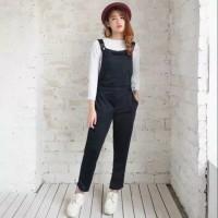 jumpsuit polos hitam baju kodok wanita anak anak remaja jamsuit