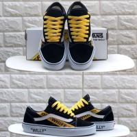 Sepatu OFF WHITE x Vans Old Skool Willy Skateboards Black White Yellow