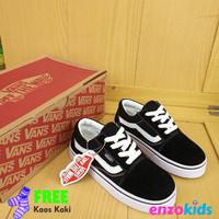 Sepatu Anak Vans Oldskool Hitam Tali size 21 35 Sepatu Anak Sekolah - 21