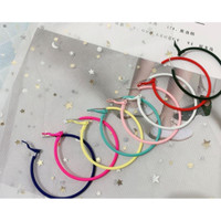 LRC Anting Hoop Fashion Color Round Shape Decorated (6Cm)