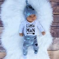 Musim Gugur Bayi Boy Pakaian Set Kapas Lengan Panjang Baju Monyet