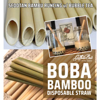 BALI Sedotan BAMBU Kaca Stainless BOBA Bubble Tea Bamboo Straw Runcing