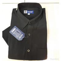 baju kemeja hitam polos lengan pendek /alisan /formal /hem pria/cowok