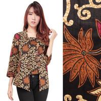 Atasan Abaya Ediva Blouse Kemeja Batik Lengan Panjang Wanita M-XL