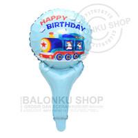 Balon Foil Tongkat Happy Birthday Kereta / Balon Pentung Kereta