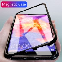 Casing Magnetik Metal Tempered Glass untuk Huawei P20 Pro Mate 10 Pro