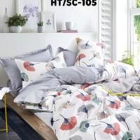 Sprei Katun Jepang Kipas Abu + warna uj 120 x 200 x 25 + bedcover
