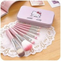 Kuas Make Up Hellokitty Isi 7 in 1 Brush Makeup Kaleng Hello Kitty Set
