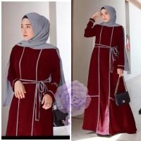 MAXI LENAHES MAROON [Gamis 0121] SHA Baju Gamis Wanita Terbaru