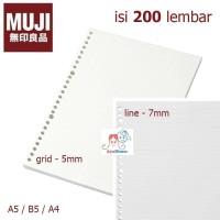 MUJI -200 pcs-Loose Leaf paper A5/B5/A4 - line/Grid/Dot/Blank - kertas