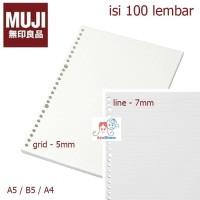 MUJI - Loose Leaf paper A5/B5/A4 - line / Grid / Dot / Blank - kertas