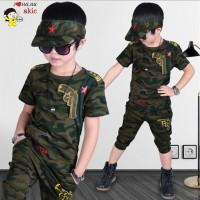 Setelan Kaos T-Shirt Anak Laki-laki Lengan Pendek Gambar Camo   Celana