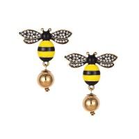 LRC Anting Tusuk Fashion Bee Worm Alloy Diamond-studded Bee F50692