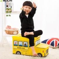 Storage Box Cartoon Storage Bus Kotak Penyimpanan Sekaligus Bangku