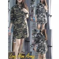 Baju Fashion Wanita Korea Import Panjang Long Top Army Mini Dress