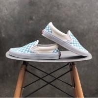 Sepatu Slip On Wanita Vans Blue White Checkerboard Premium BNIB
