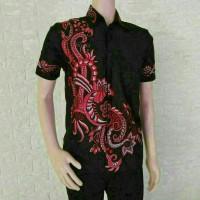 batik pria lengan pendek/batik pria motif naga/grosir baju pria/batik