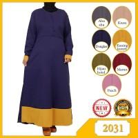 Gamis Polos Baju Wanita Muslim Bahan katun Linen