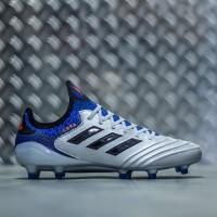 Sepatu Bola Adidas Copa 18.1 FG - Silver Metallic Core Black Blue