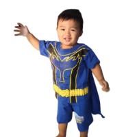Setelan Pendek Power Rangers Kaos Baju Anak Laki Laki Cowok Superhero - Merah, 6