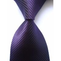 Dasi UNGU TUA Panjang Pria Motif Salur - Lebar 3 inch ( 7 - 8cm)