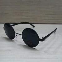 Kacamata Pria wanita Boboho Korean Klasik Bulat Hitam Full Hitam